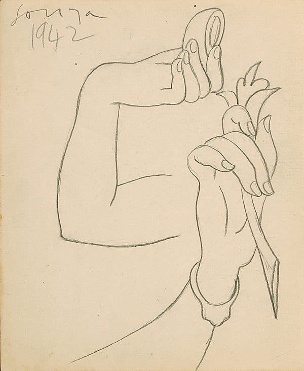 Francis Newton Souza, Untitled (Study for hands), 1942