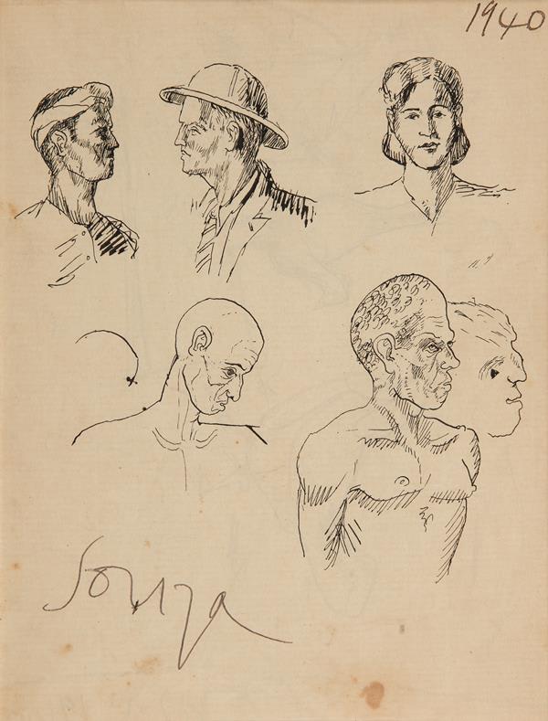 Francis Newton Souza, Untitled (Figures), 1940