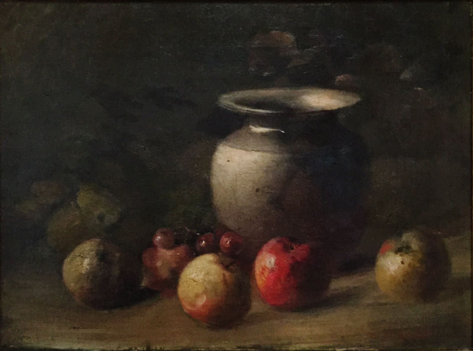 Charles Ethan Porter, Green Vase with Apples and Grapes, c.1880