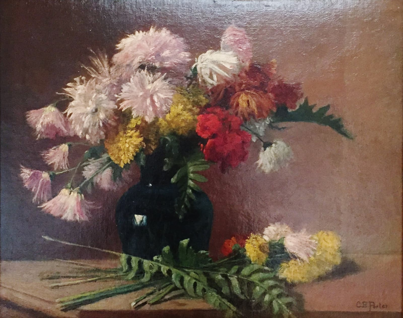 Charles Ethan Porter, Untitled (Pink, White, Yellow & Red Carnations w/Dark Blue Vase), c.1878-1885