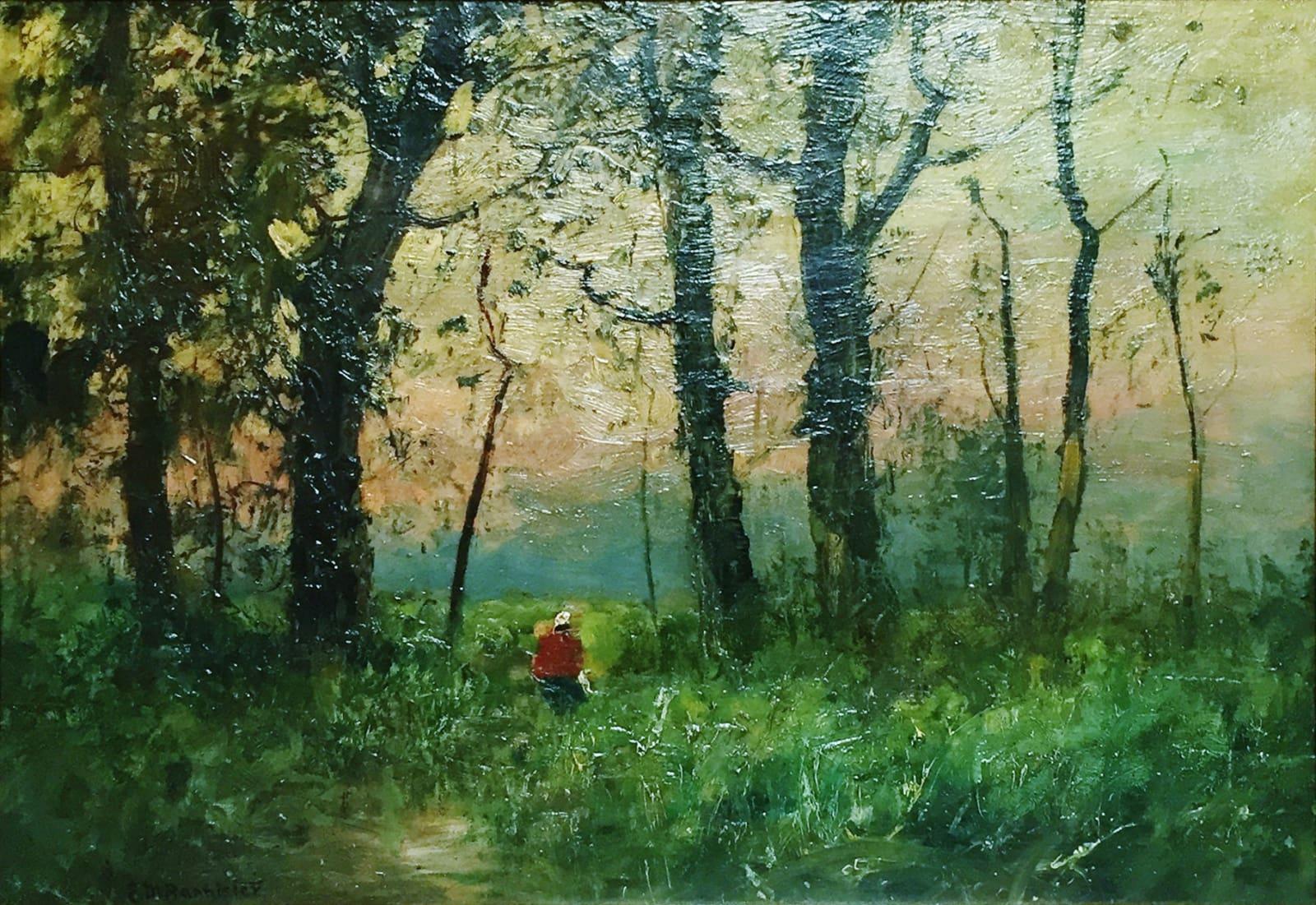 Edward Mitchell Bannister, Untitled (Landscape) Single Image Between Trees, c.1882