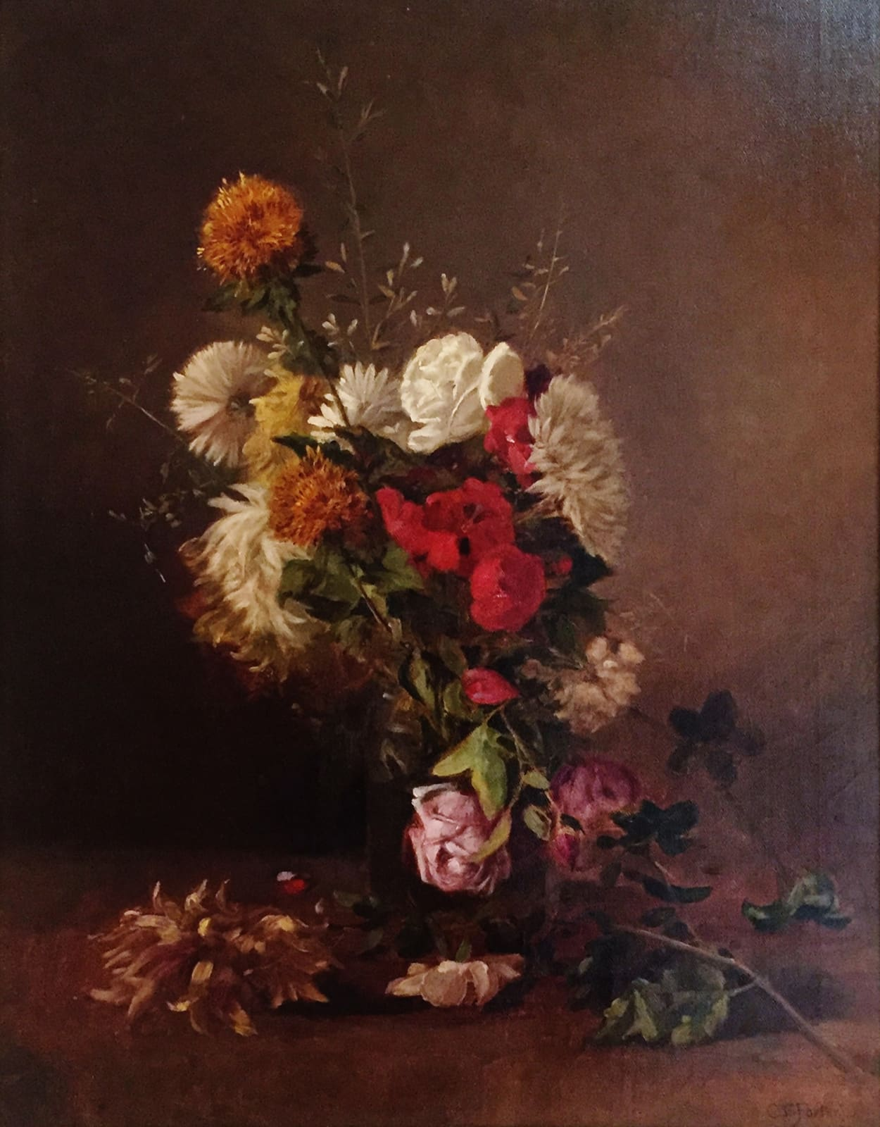Charles Ethan Porter, Florae - Mixed Bouquet Roses in Clear Vase