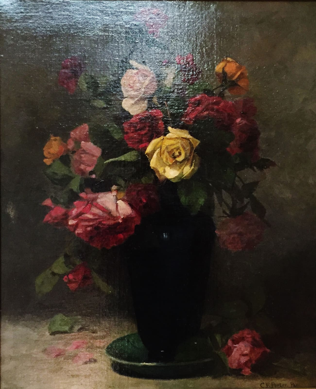 Charles Ethan Porter, Untitled (Roses, Yellow Cntr Rose in Dark Blue Vase), c.1910