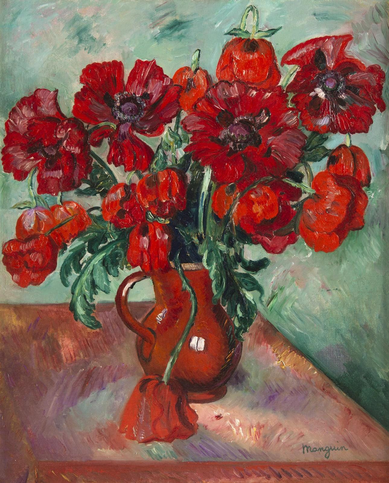 HENRI MANGUIN, Grand vase de pavots, 1915