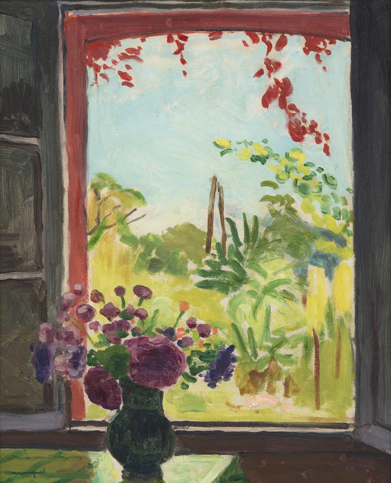 ALBERT MARQUET, Bouquet sur une table devant la fenêtre à Méricourt, 1937