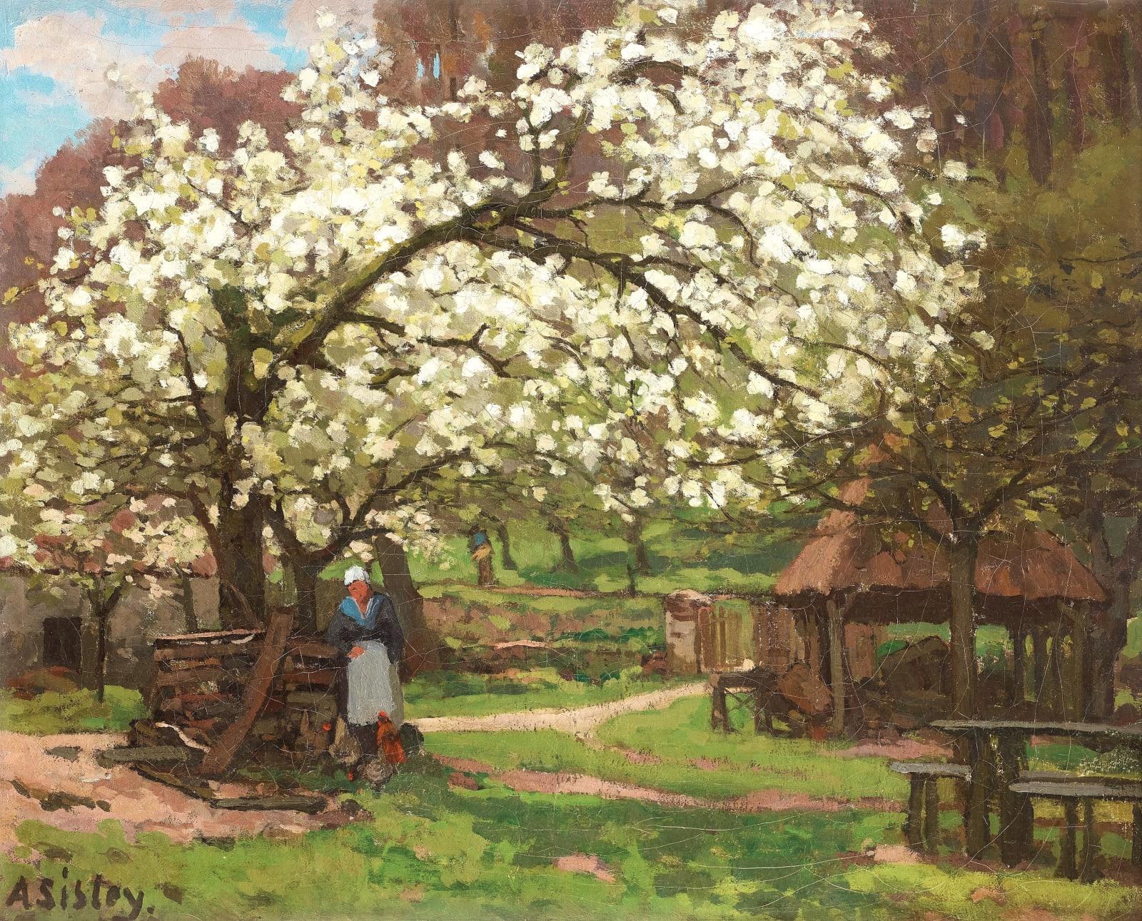 ALFRED SISLEY, Printemps, paysanne sous les arbres en fleurs, circa 1865-1868
