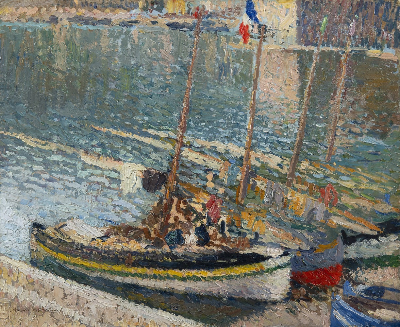 HENRI MARTIN, Barques à Collioure ( le 14 juillet ), circa 1925