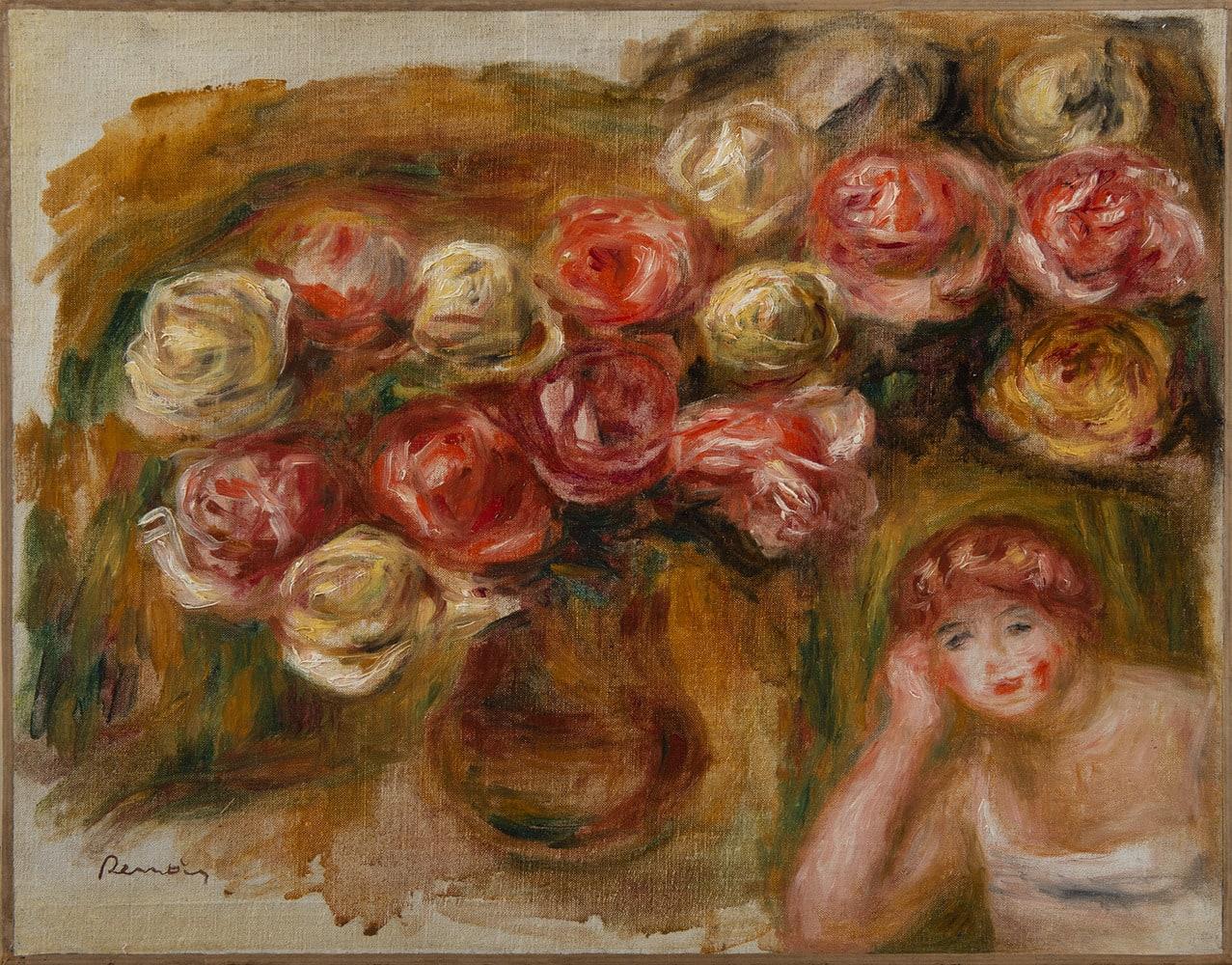 PIERRE-AUGUSTE RENOIR, Étude de femme et de fleurs, circa 1915
