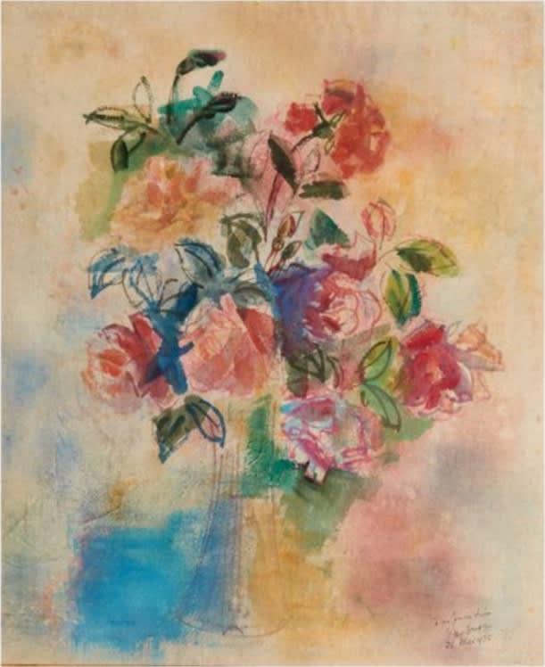 JEAN DUFY, Bouquet de roses dans un vase, 21 mai 1925