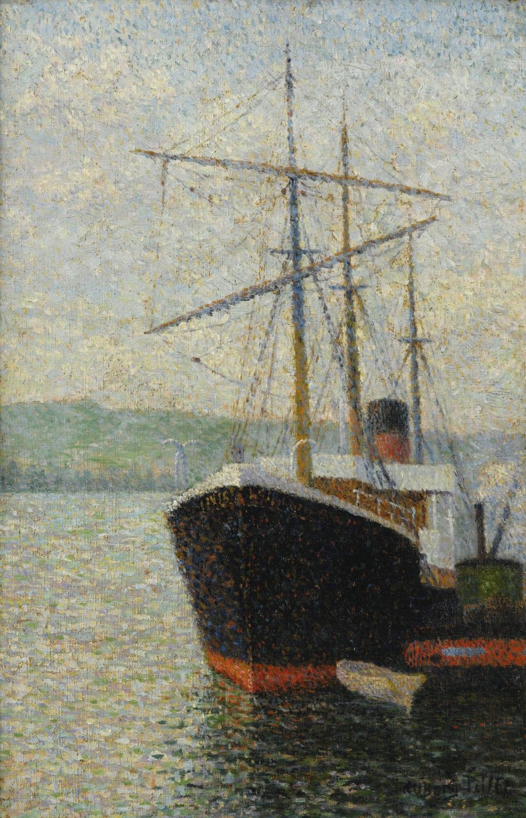 ALBERT DUBOIS-PILLET, Trois-mâts à quai, 1886