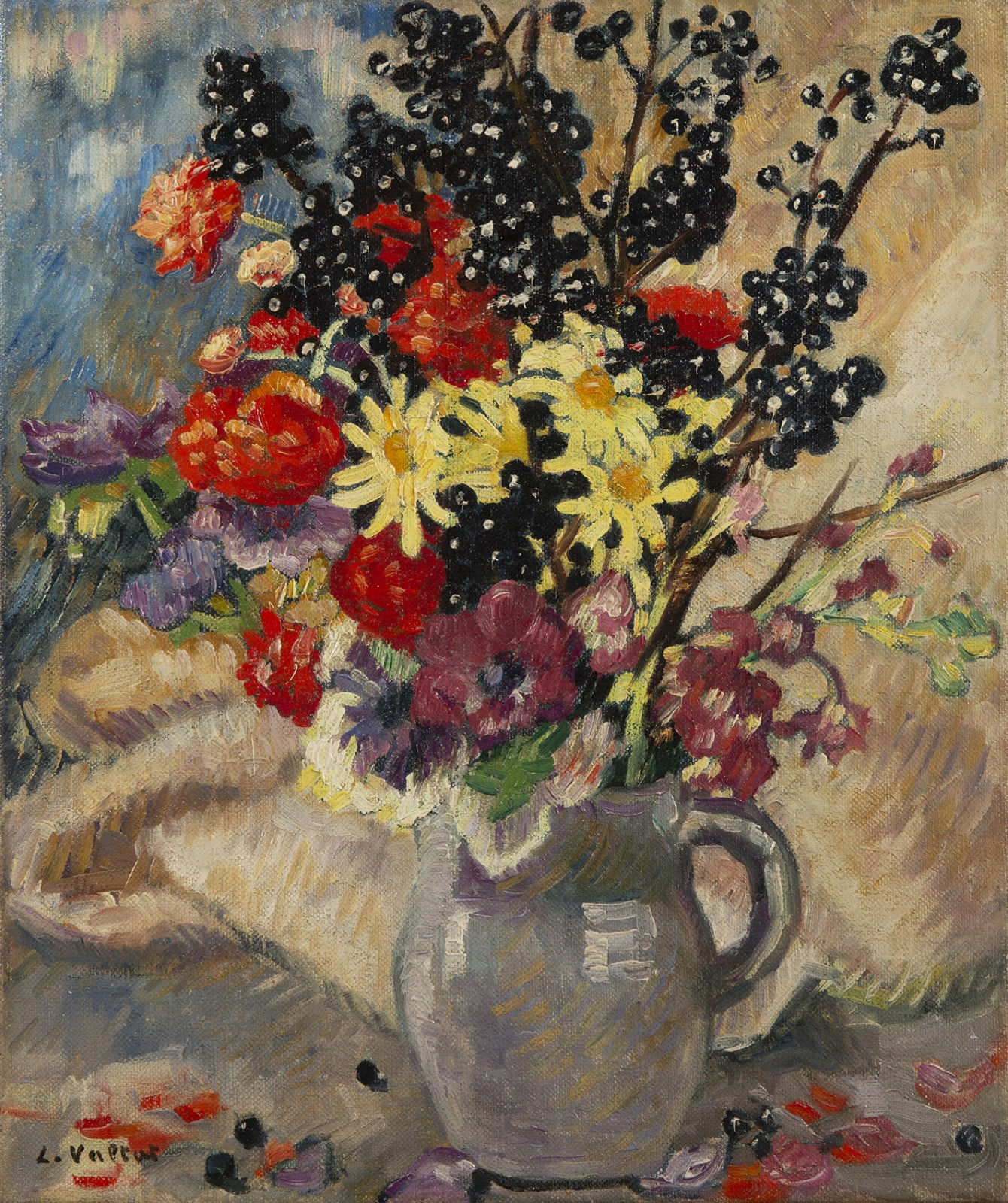 LOUIS VALTAT, Bouquet aux branches de cassissier, circa 1921