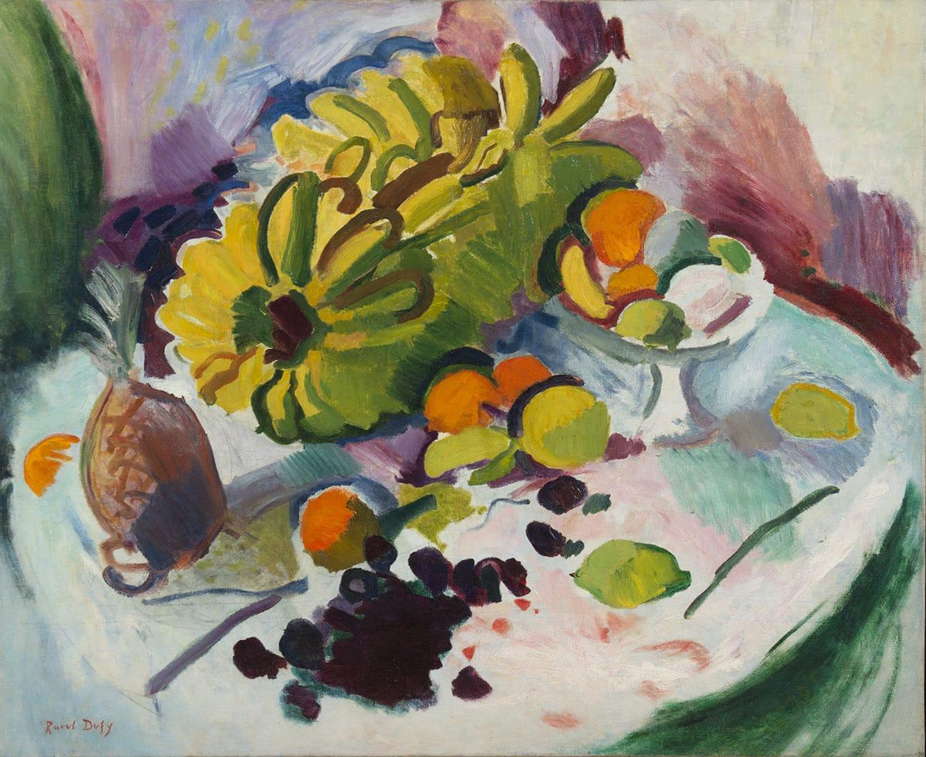 RAOUL DUFY, Compotier, bananes et fruits sur un entablement, 1905