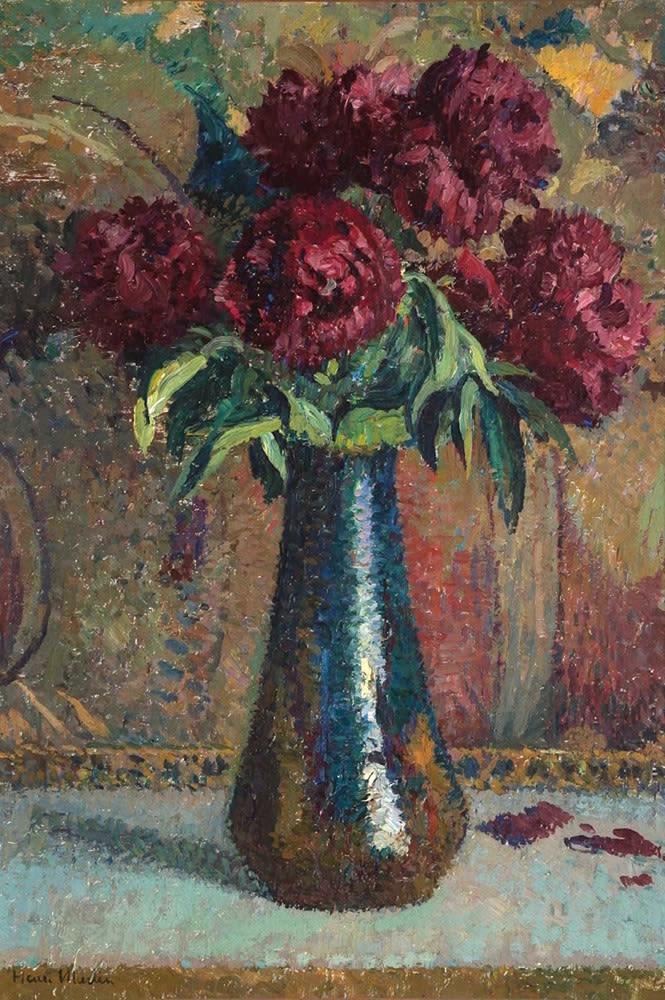 HENRI MARTIN, Pivoines rouges dans un vase Dalpayrat
