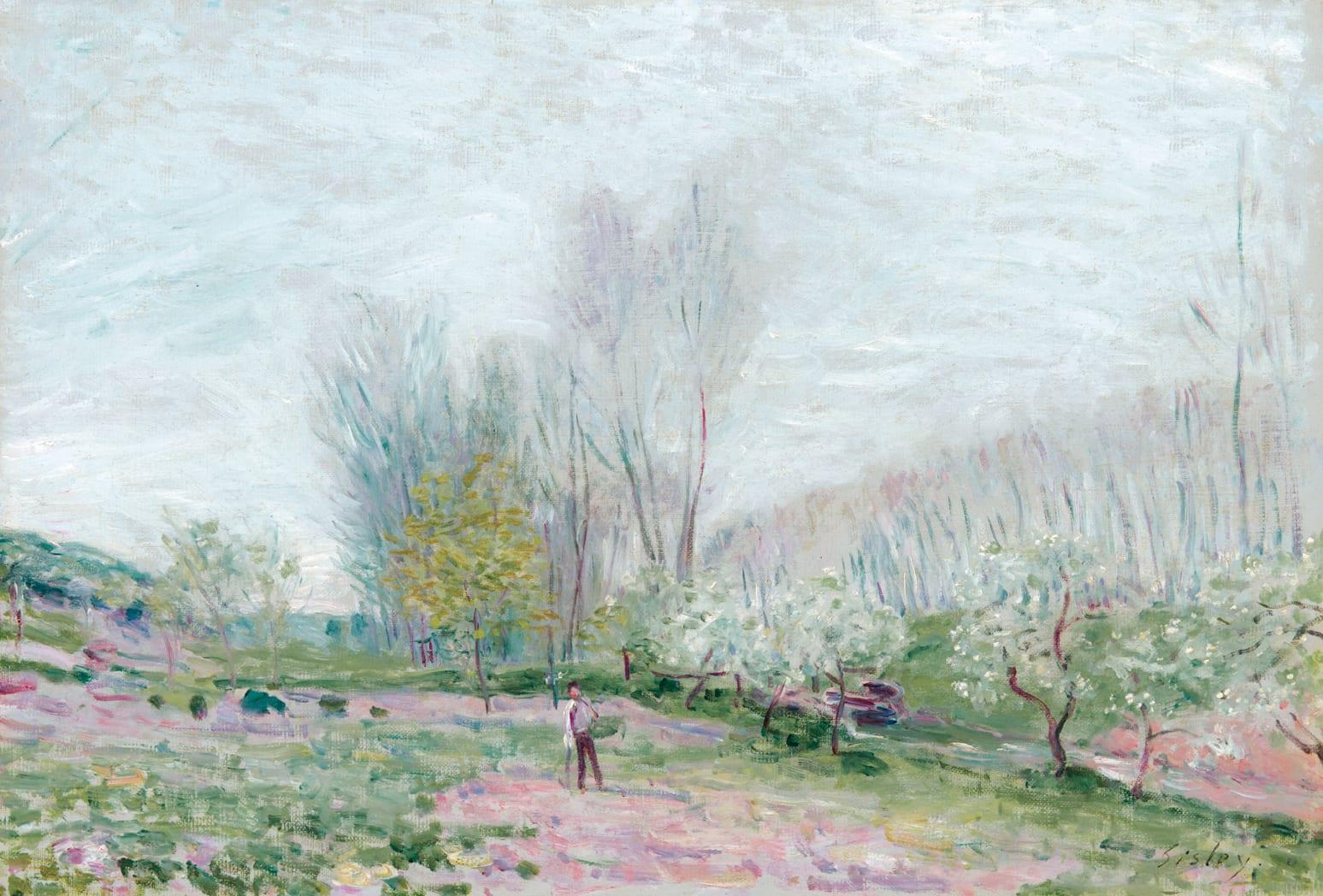 ALFRED SISLEY, Les Pommiers en fleurs à Moret-sur-Loing, 1890
