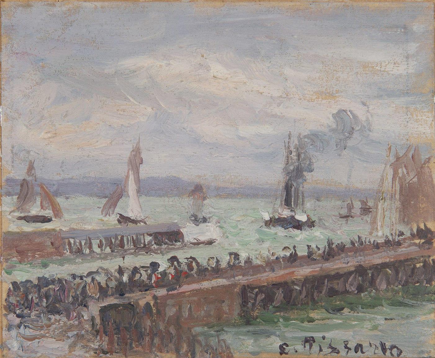 CAMILLE PISSARRO, Entrée du port du Havre et le brise-lame ouest, soleil, mer agitée , 1903