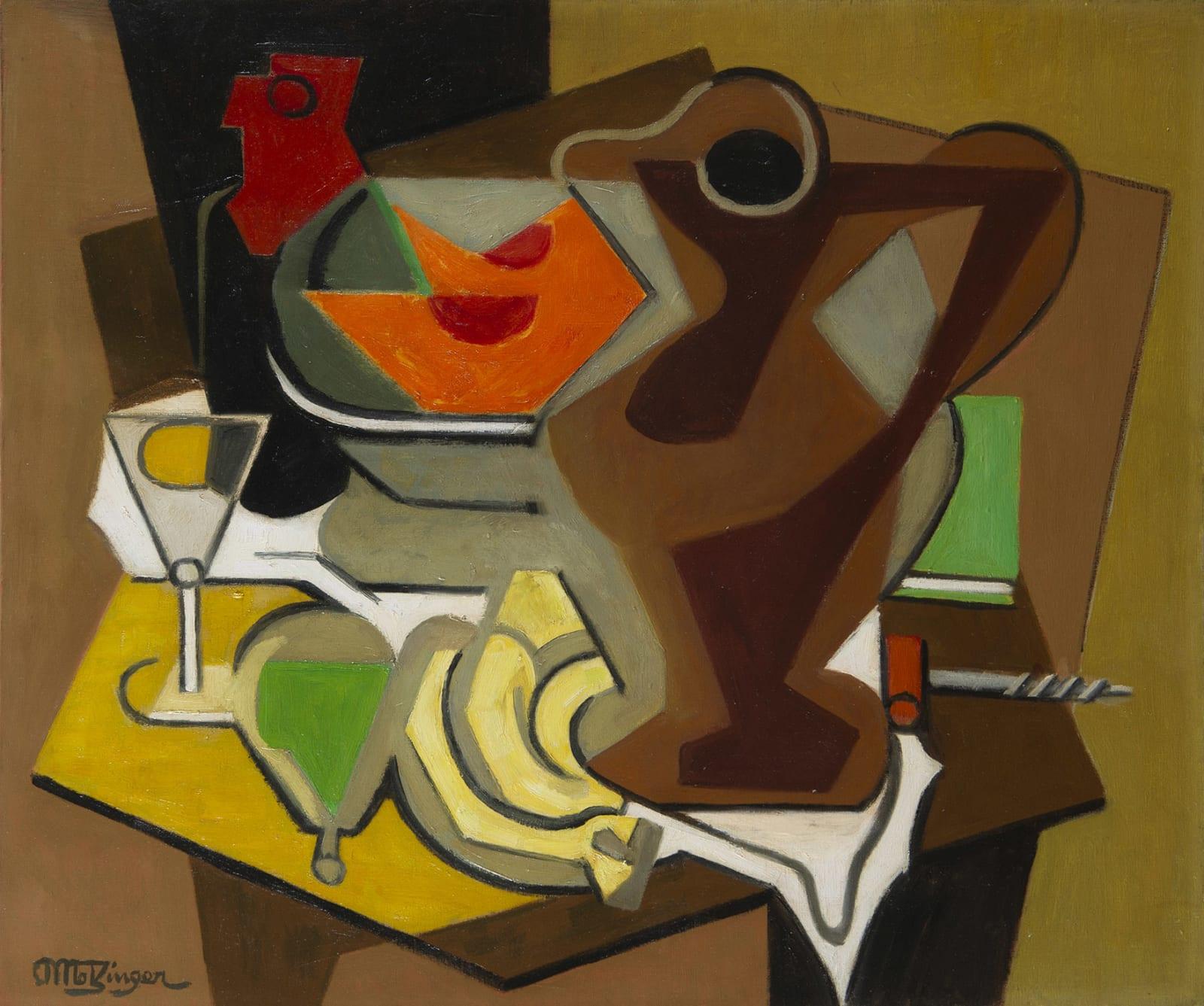 JEAN METZINGER, Pichet, fruits et tire-bouchon, circa 1950-1956