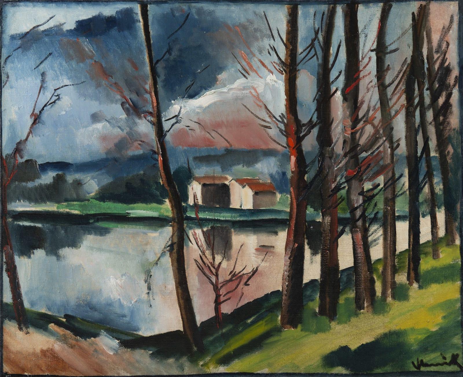 MAURICE DE VLAMINCK, Paysage au bord de l'eau, circa 1911-1912