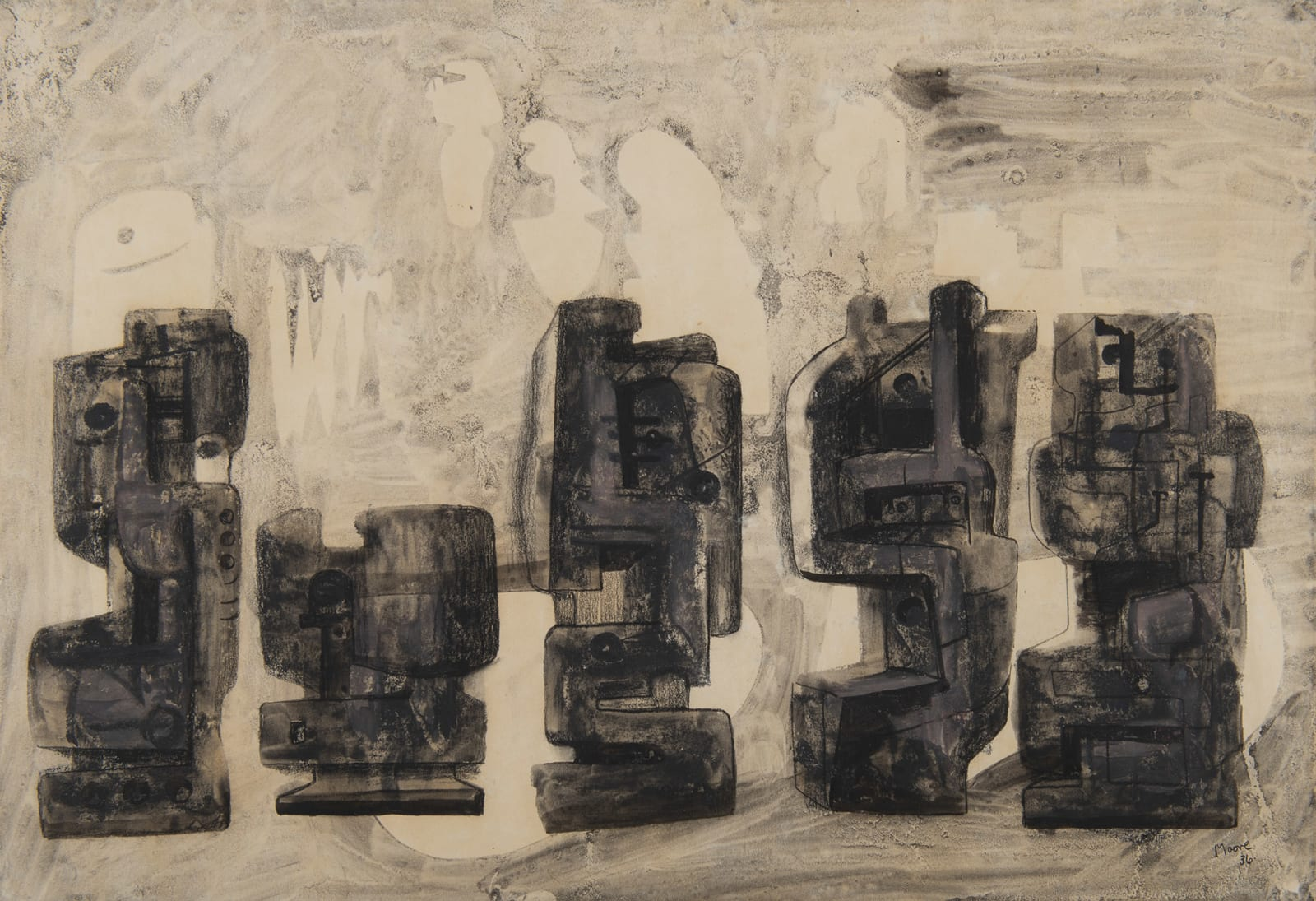 HENRY MOORE, Five Square Forms in a Setting, 1936