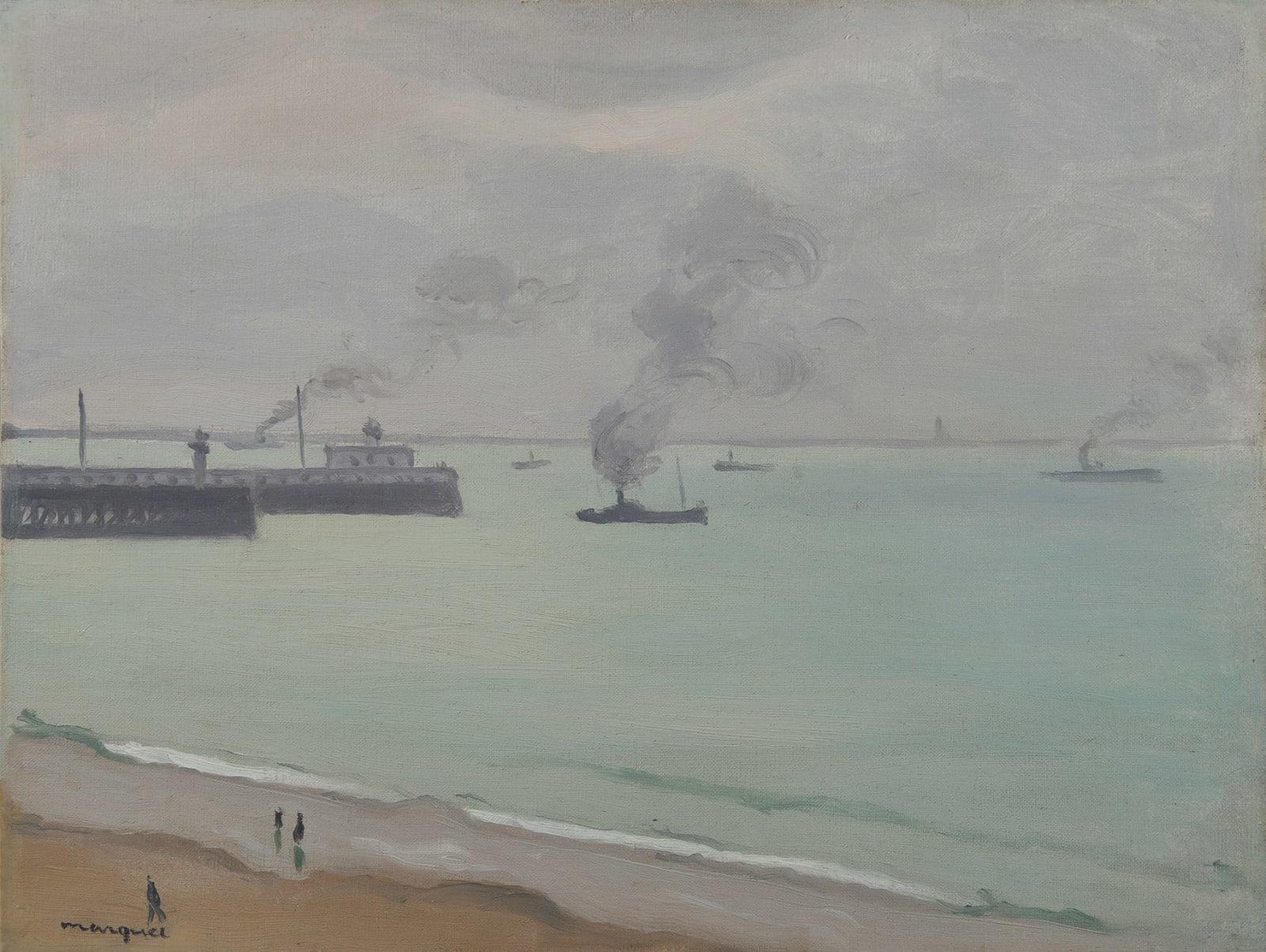 ALBERT MARQUET, Fumées devant les jetées, Boulogne-sur-mer, 1930