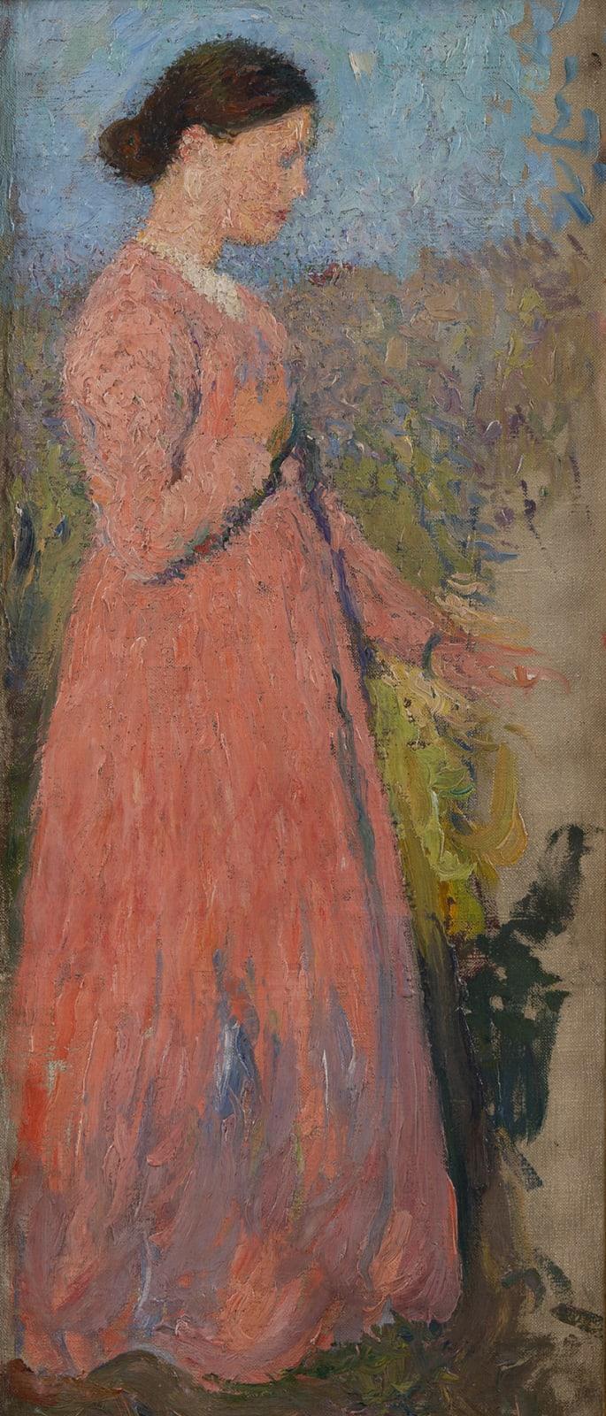 HENRI MARTIN, Femme en rose, circa 1910-1911