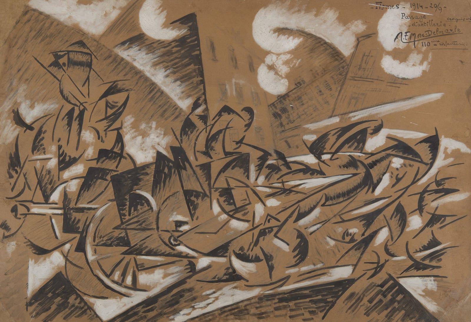AIMÉ FÉLIX DEL MARLE, Passage d'artillerie, Fismes, 20 septembre 1914, 1914