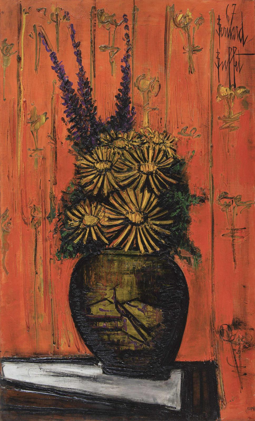 BERNARD BUFFET, Bouquet au vase chinois, fond orange, 1967