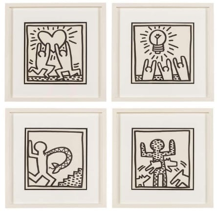 Keith Haring, Untitled (Four Plates), 1982