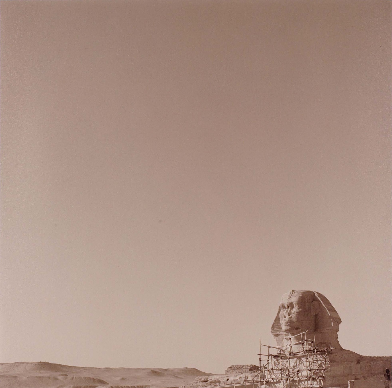 Lynn Davis photograph of Sphinx at Memphis, Egypt in lower right hand corner