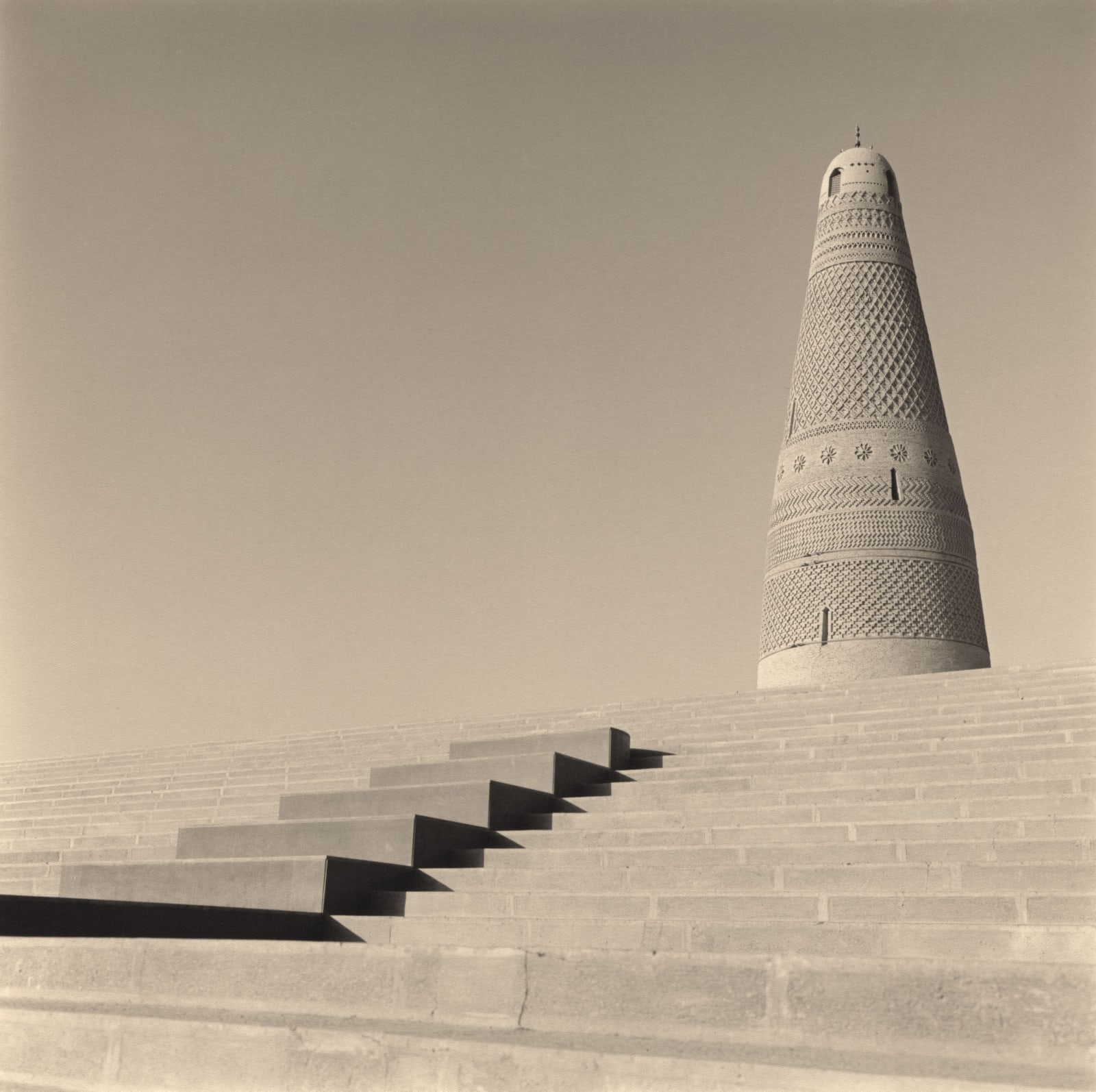 Emin Minaret of Suleiman Mosque, Turpan, China, with staircase, by Lynn Davis