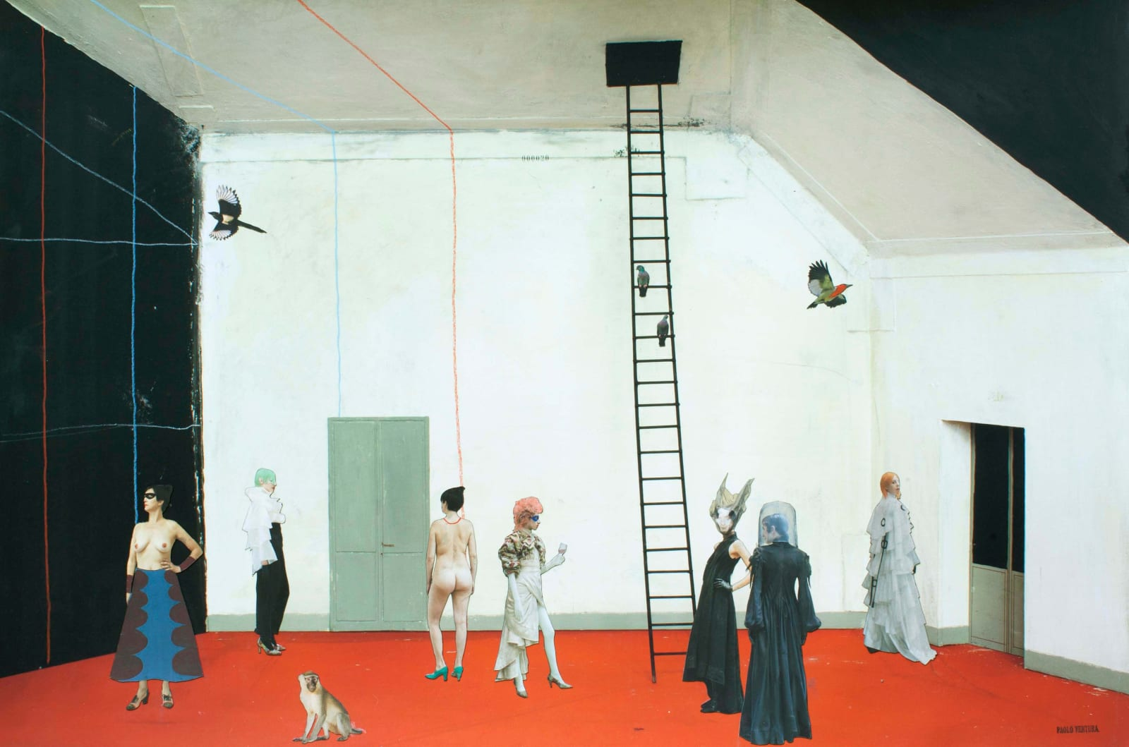 Paolo Ventura The Trombone Player, people in costumes at a surreal party