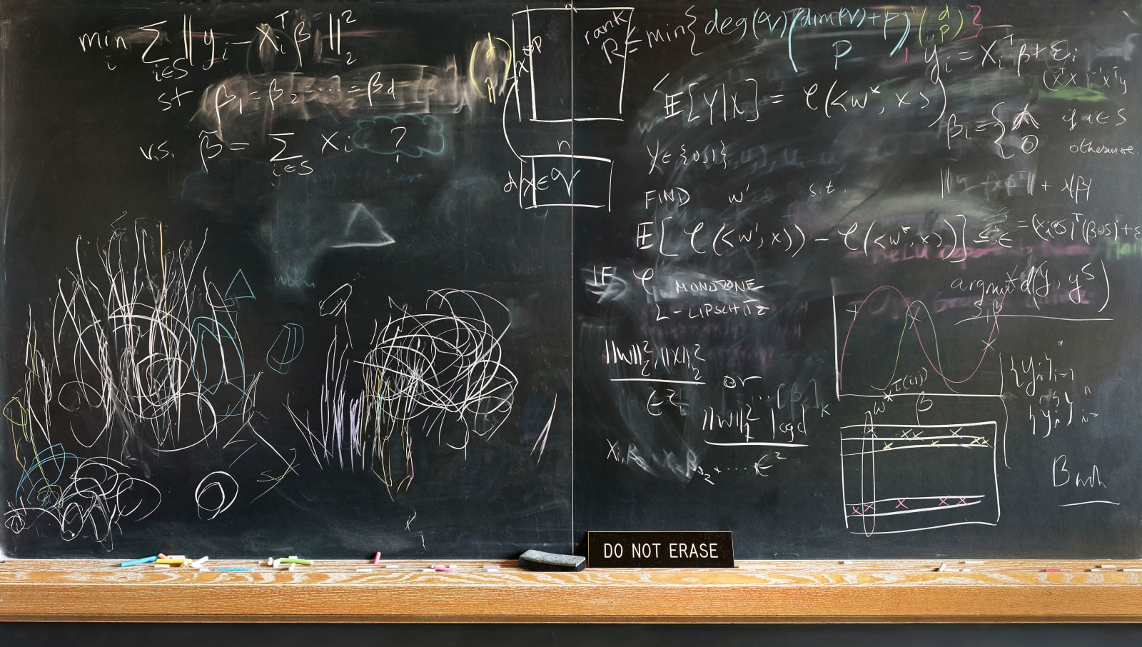 Blackboard with formulas in chalk, Do Not Erase sign on ledge, by Jessica Wynne