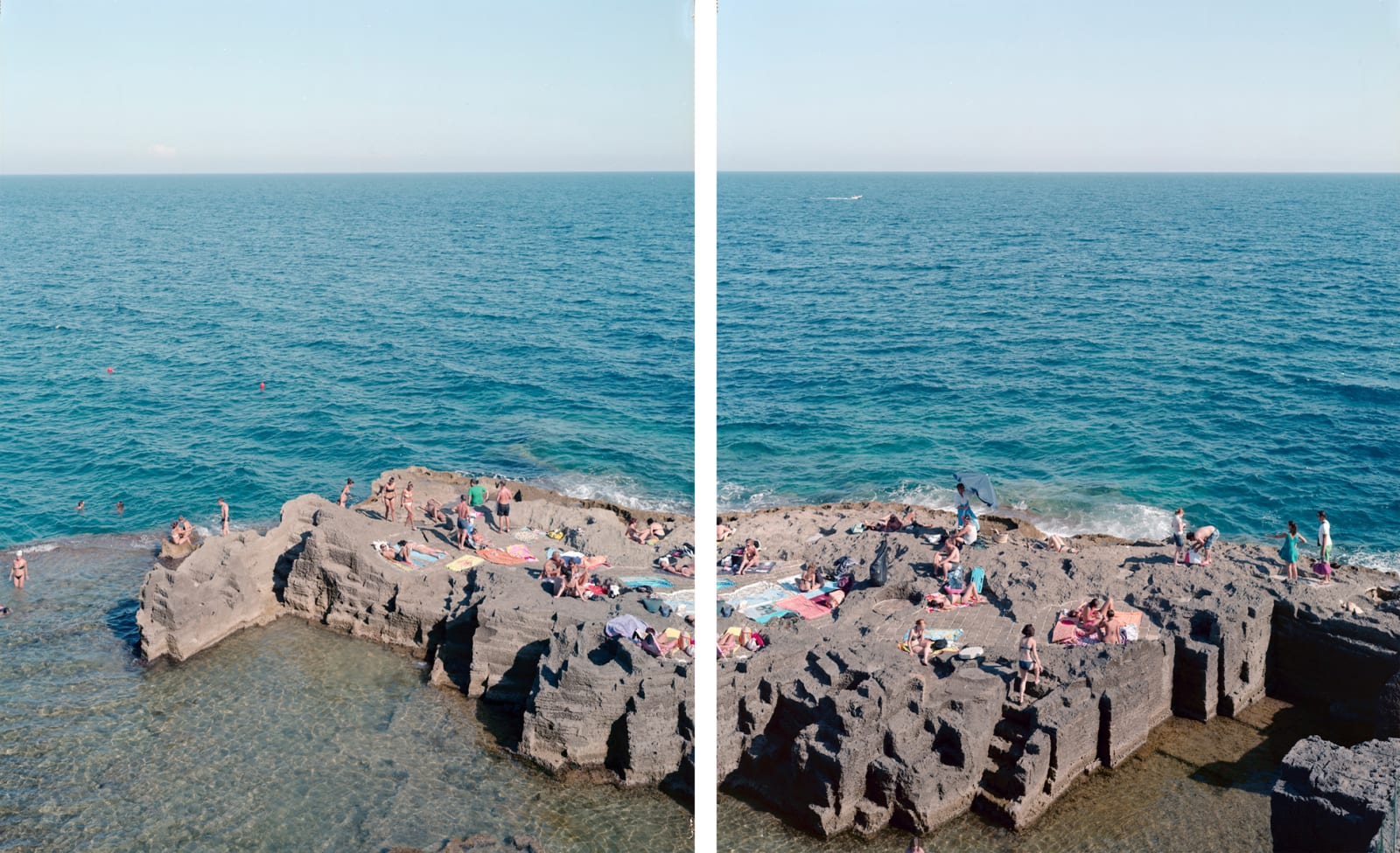 Diptych of people sunbathing on cliffs at Santa Cesarea Terme, southern Italy, with blue ocean in background, by Massimo Vitali