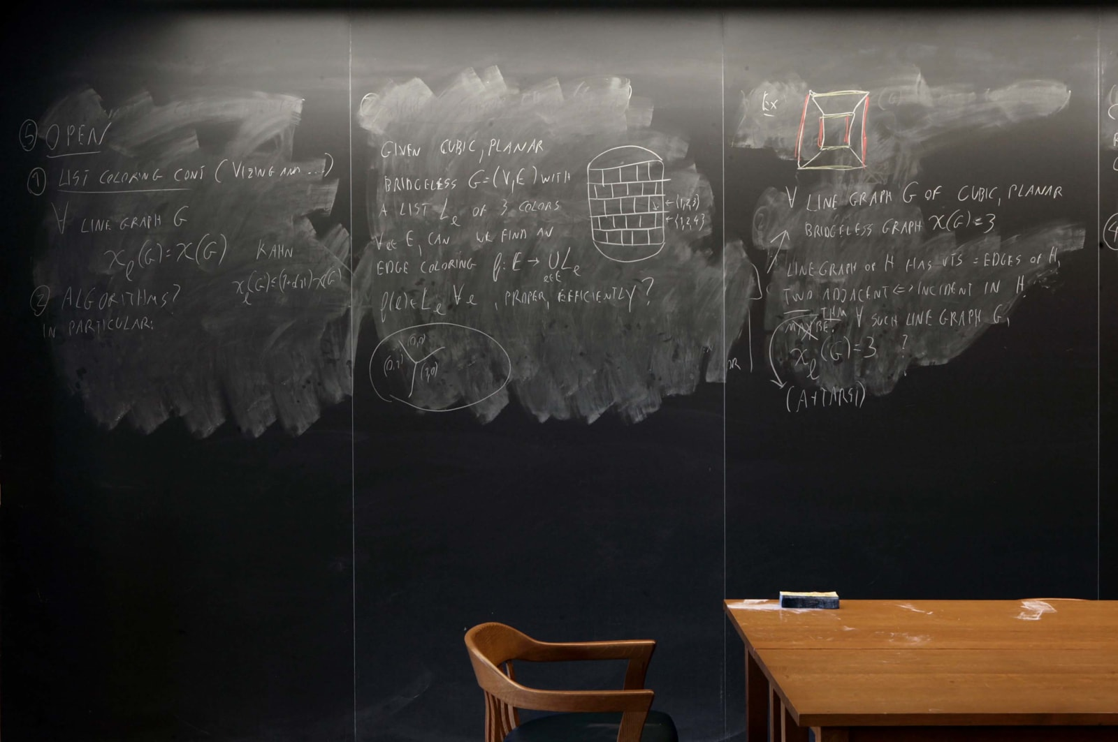 Wall sized chalkboard with erasures and formulas by professor Noga Alon, with wooden chair and desk in front, from the Do Not Erase series by Jessica Wynne