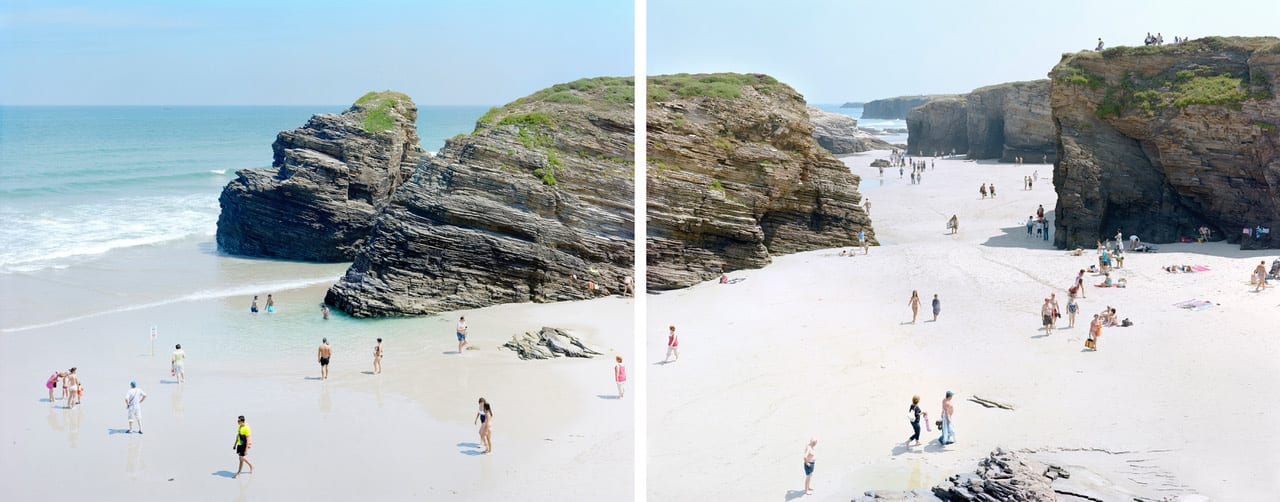 diptych of Las Catedrales Beach, Spain with beachgoers and blue sky, by Massimo Vitali