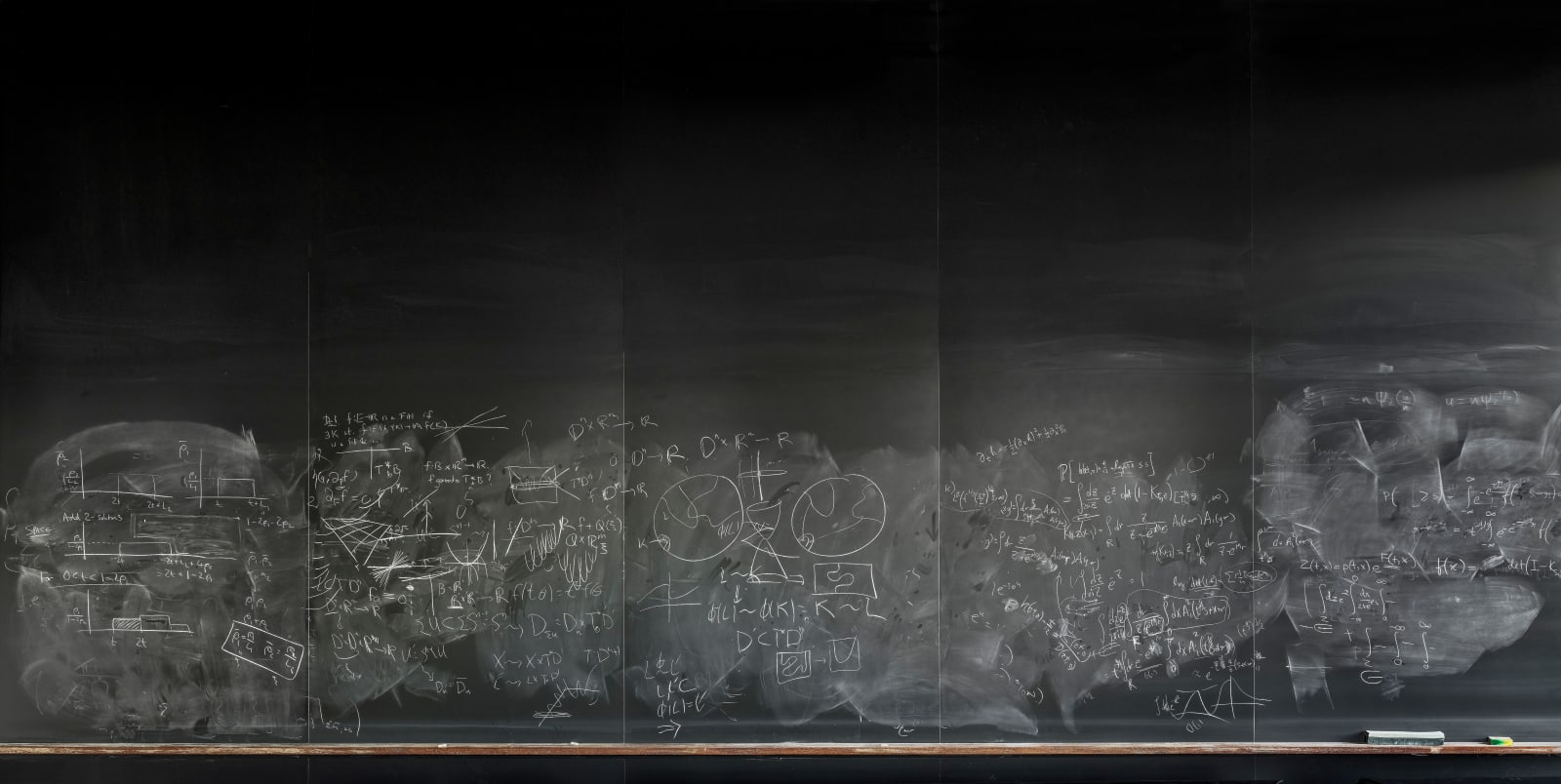 Large blackboard at Columbia University in common room with math formulas by multiple mathematicians, by Jessica Wynne