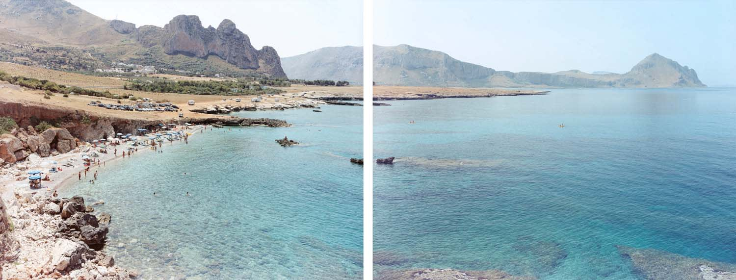 Diptych of calm beach and sea with small crowd of people at San Vito lo Capo, Sicily, Italy by Massimo Vitali