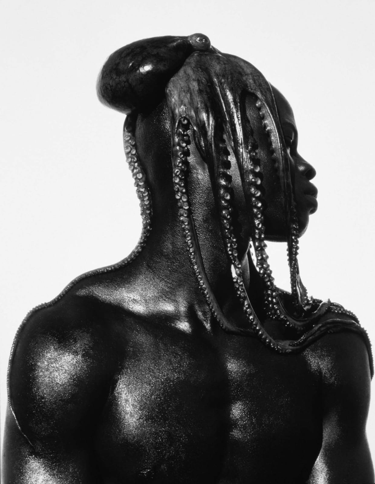 Herb Ritts photograph of Djimon with octopus on head, Hollywood