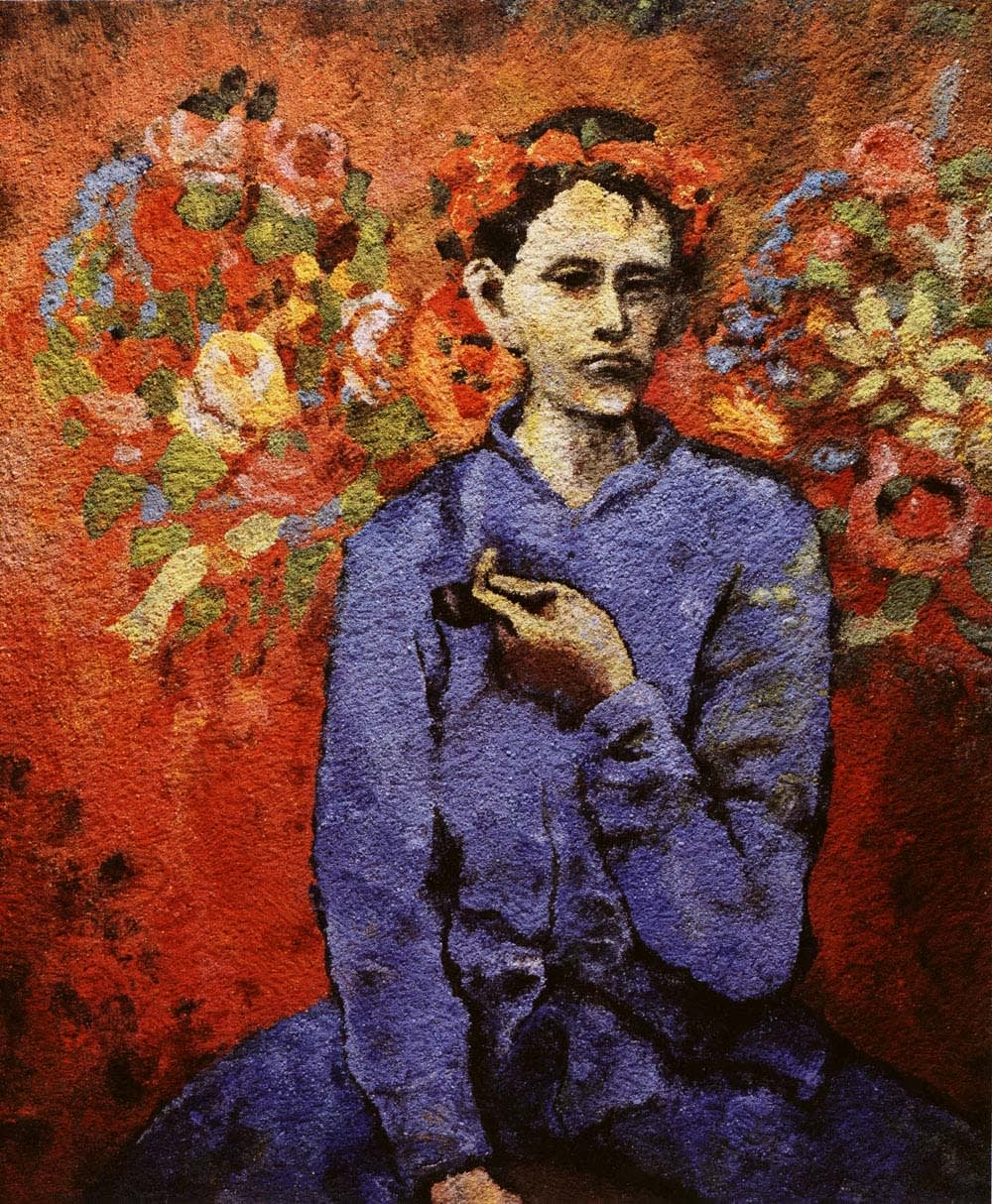 Vik Muniz Boy with Pipe after Picasso picture of pigment imitating Picasso painting of boy with pipe