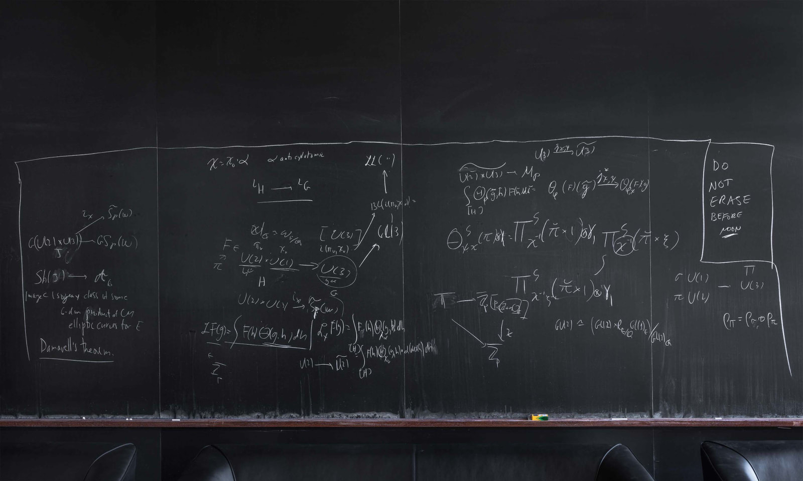 Blackboard with mathematical formulas by Michael Harris, Columbia University, from the Do Not Erase series by Jessica Wynne