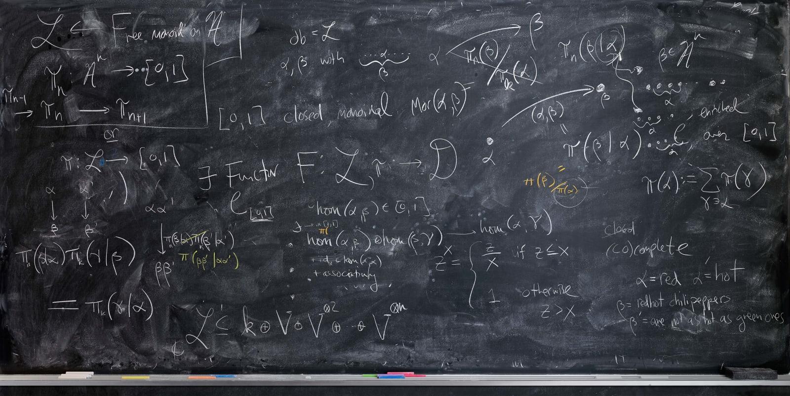 Jessica Wynne John Terilla blackboard with mathematical chalk drawings