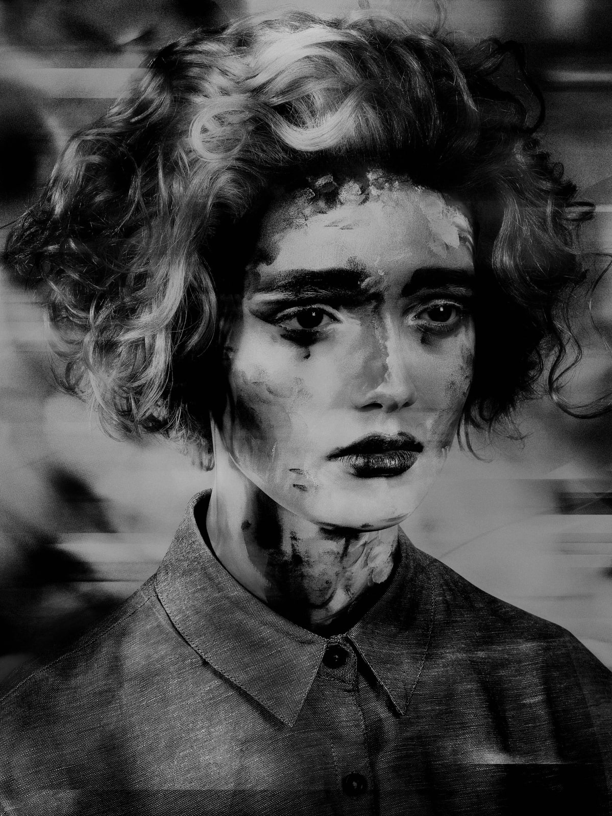 Valérie Belin Painted Ladies Lady Inpainting black and white portrait of woman with painted face and painted digital effects