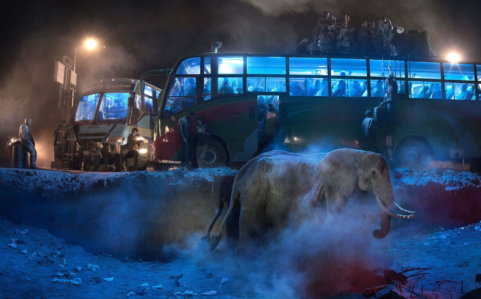 Nick Brandt, Bus Station With Elephant in Dust, 2018