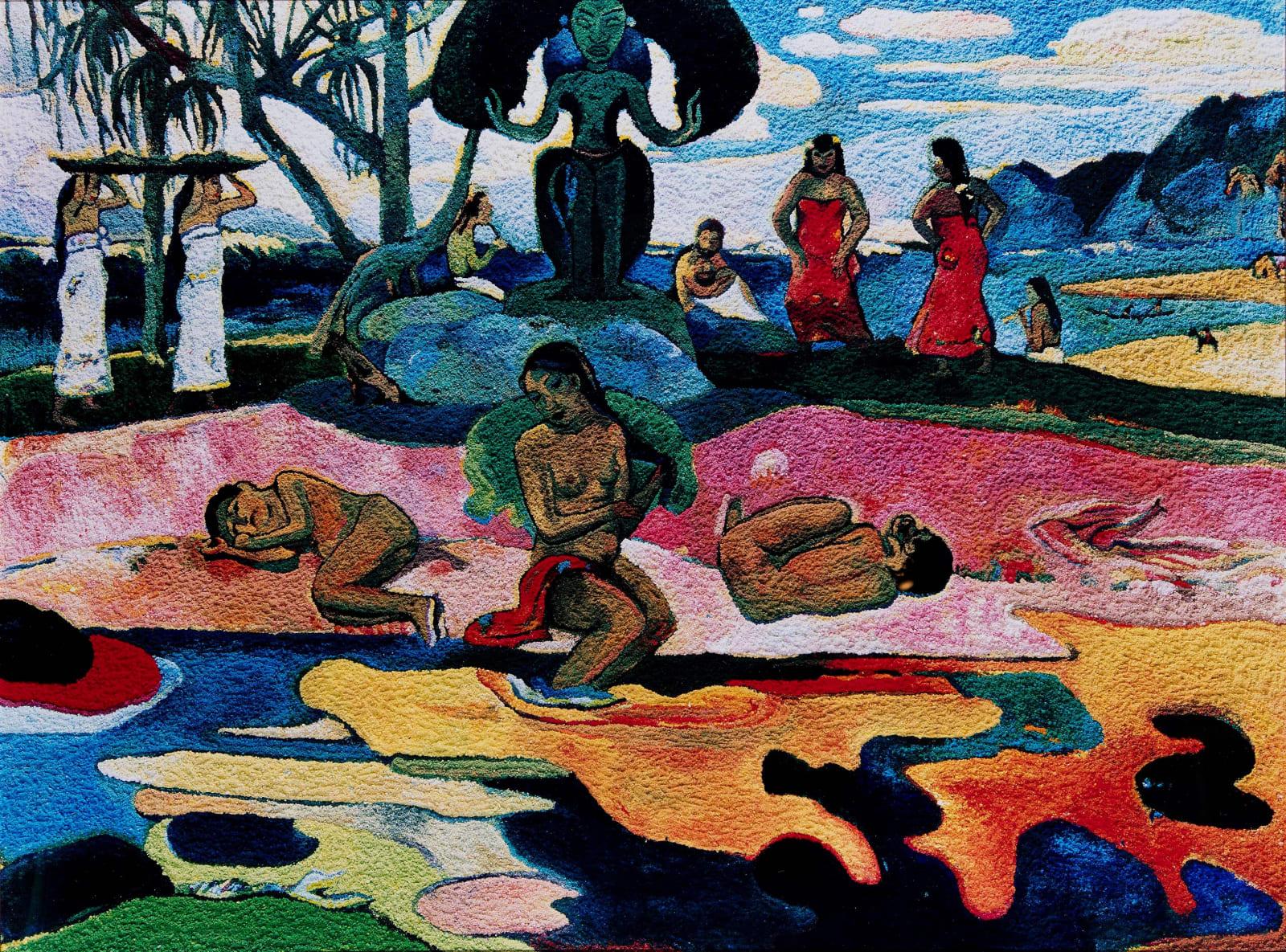 Vik Muniz Mahana No Atua (Day of the Gods), After Gauguin photograph of paint pigments rendering Gauguin's painting Day of the Gods