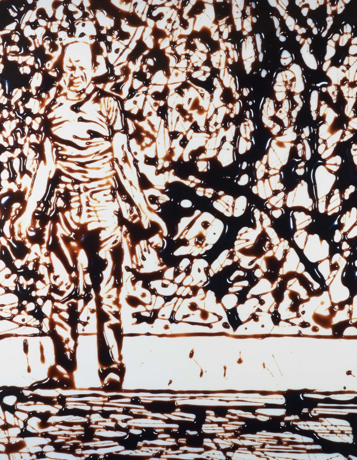 Vik Muniz photograph of Jackson Pollock standing in front of action painting rendered in chocolate syrup against white background