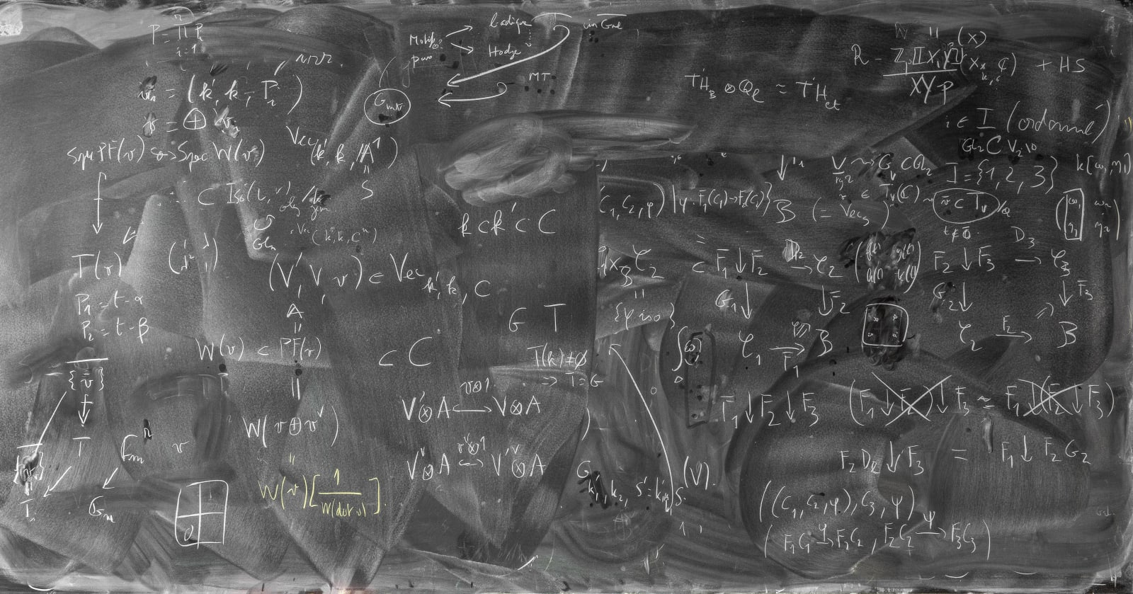 Chalkboard with erasures and mathematical formulas by Bruno Kahn, from the Do Not Erase series by Jessica Wynne