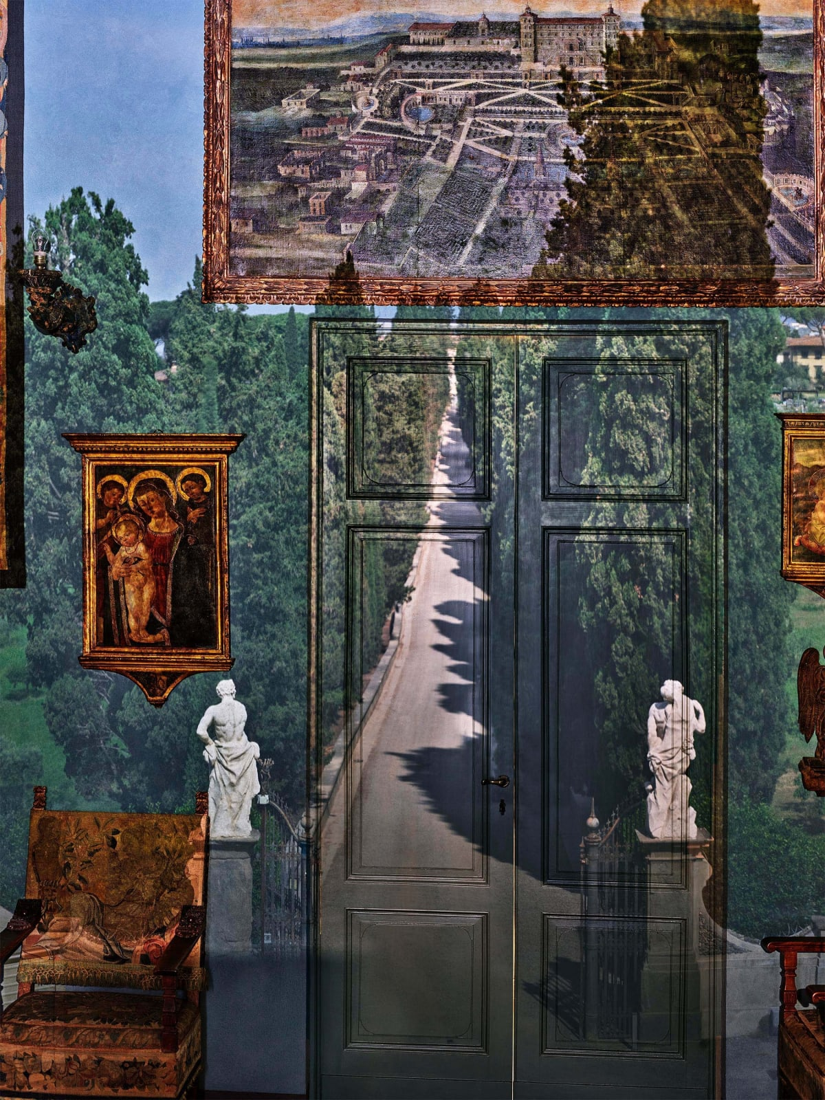 Abelardo Morell Camera Obscura View of Villa Entrance in Blue Gallery Villa la Pietra Florence Italy view of two statues flanking road projected onto wall with Italian paintings