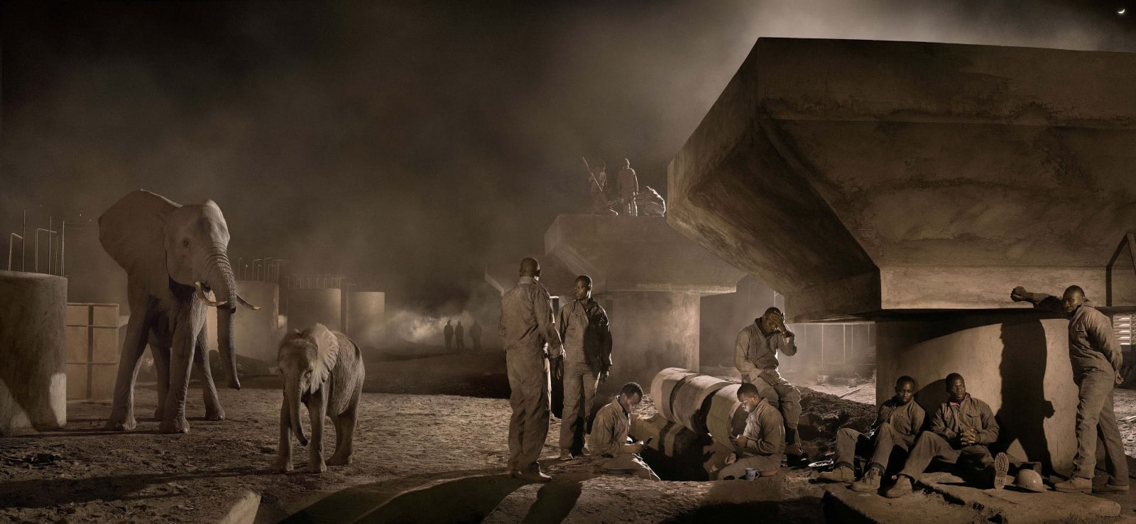 Nick Brandt, Bridge Construction With Elephants & Workers at Night, 2018
