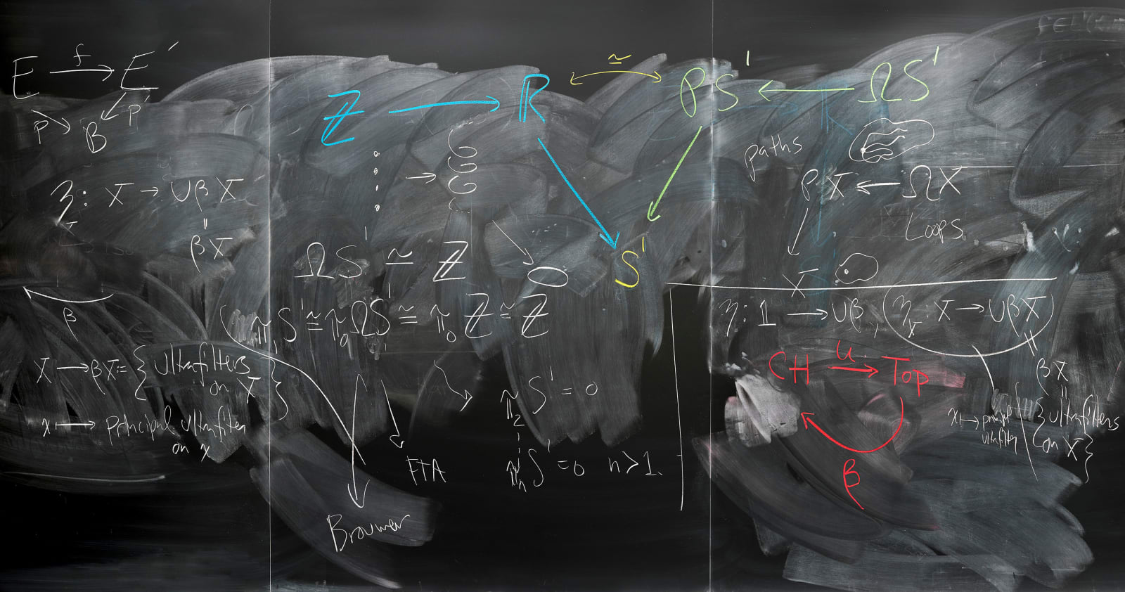 Jessica Wynne John Terilla and Tai-Danae Bradley blackboard with mathematical chalk drawings