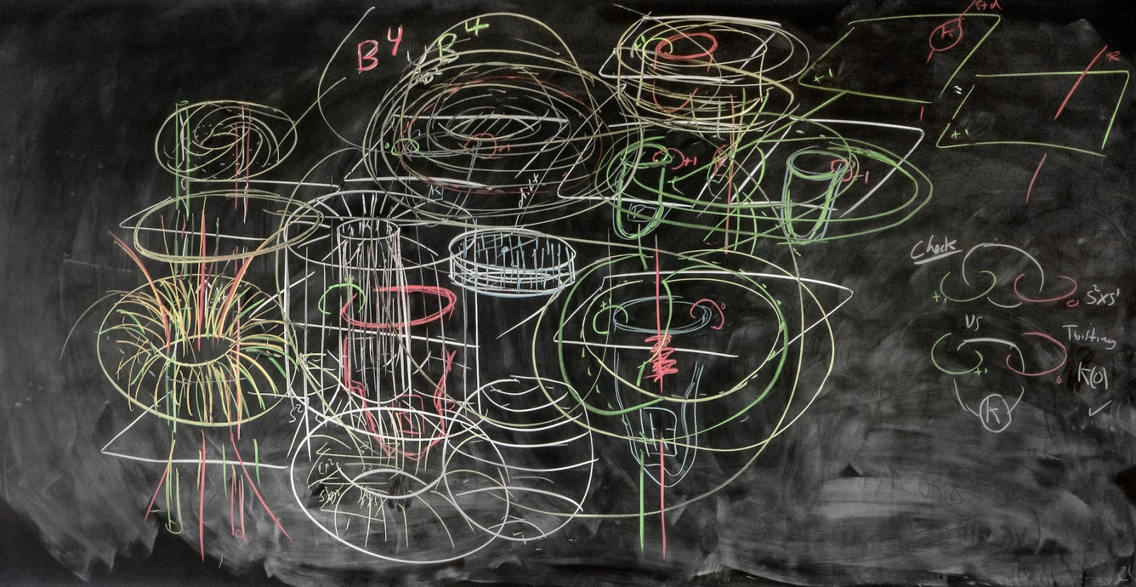Formulas on chalkboard by mathematician David Gabai, from the Do Not Erase series by Jessica Wynne