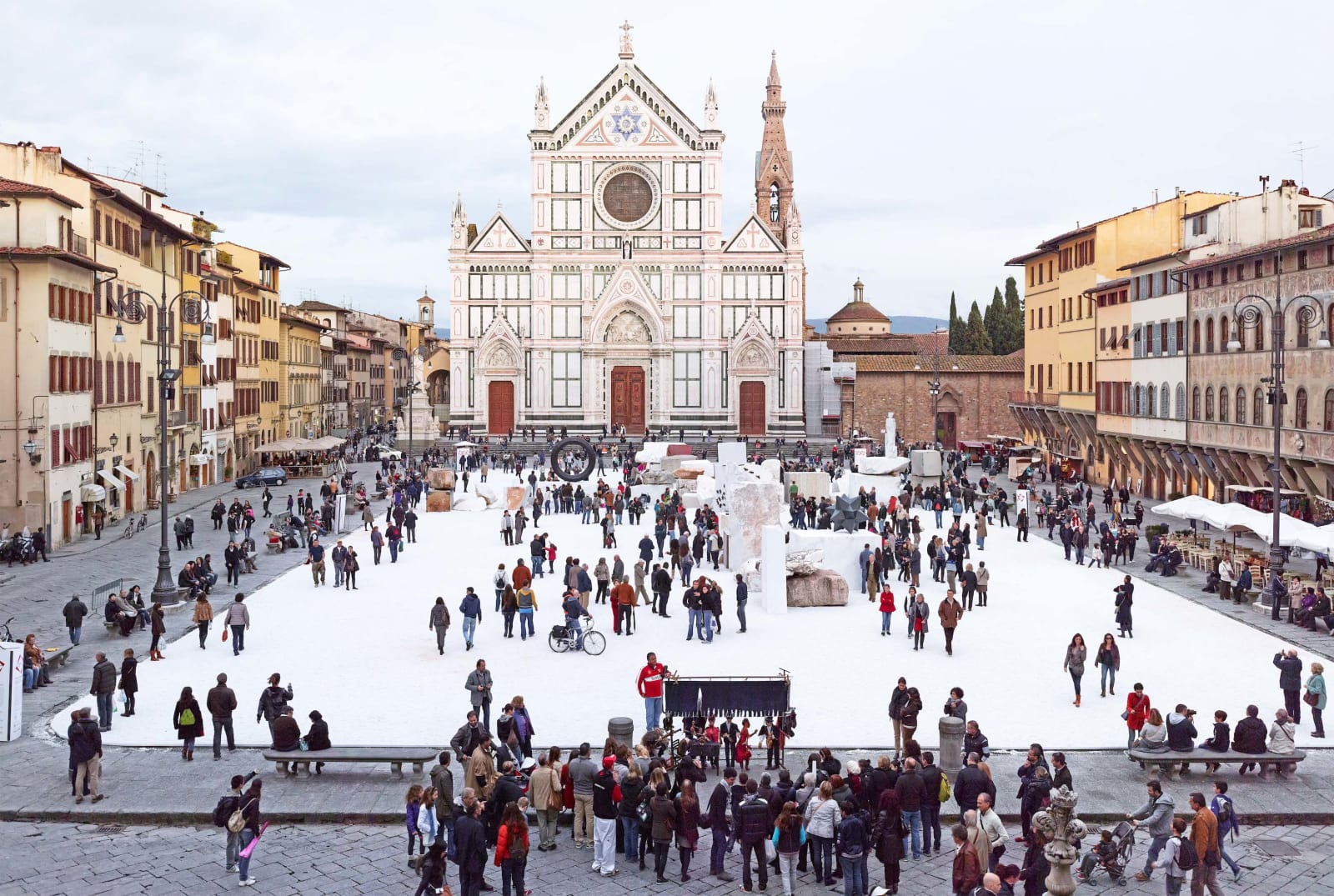 Santa Croce Puppet Show in Florence at winter, by Massimo Vitali